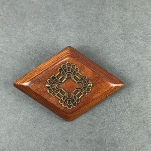 Vintage wood brooch